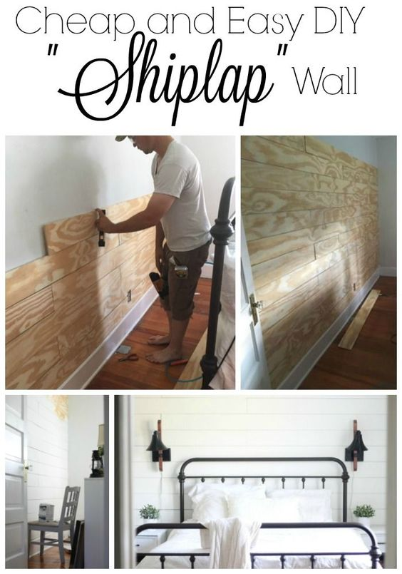 "Shiplap!  Oh the things husbands do for us!  Can I just say I am so happy we did this?  It makes the wall behind our bed  a focal point and the project was actually easier than expected!  To do the shiplap wall, I bought four sheets of 4'X8' sanded plywood at  11/32"" thickness.  I had Lowes cut it in 6"" strips.  At $.25 per cut it was  worth every penny.  The total cost for the project was under $100 for a  160""by 90"" wall.  My husband started at the baseboard and used one full 8' board and c...:"