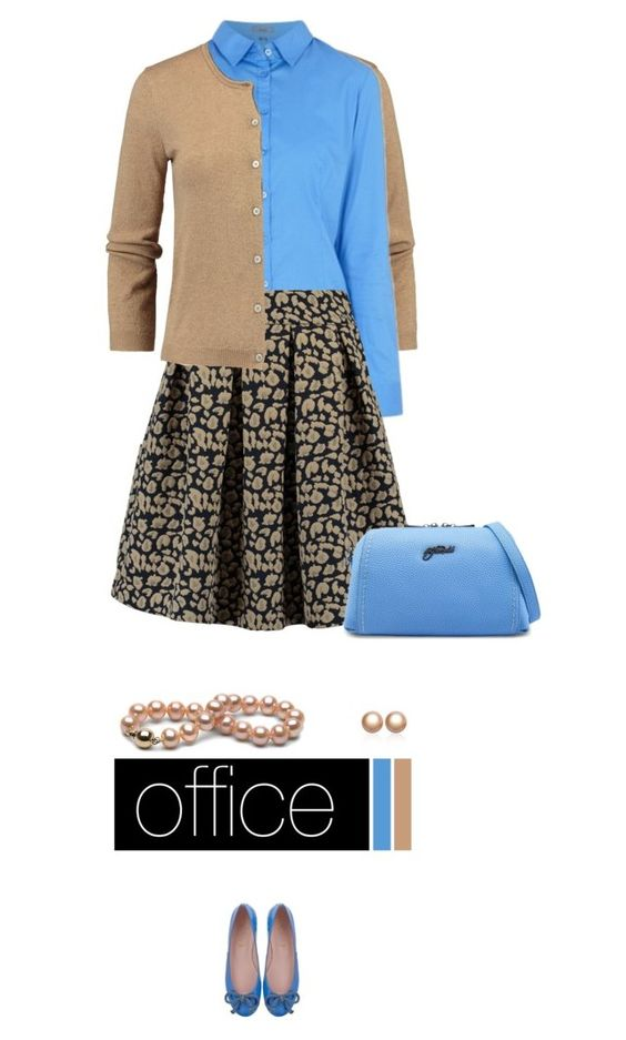 Office outfit: Blue - Camel by downtownblues on Polyvore
