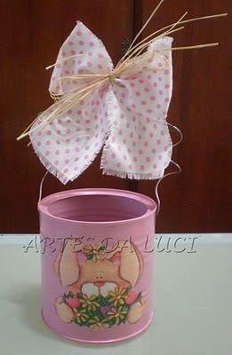 Artes da Luci: Páscoa - pap/tutorial latas - como pintar e decoupar