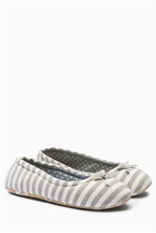 Grey/White Stripe Ballerina Slippers