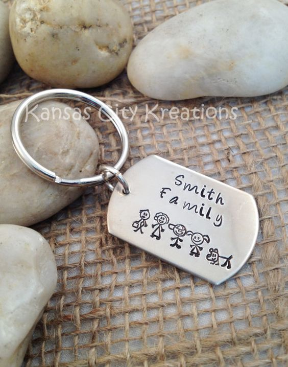 Stick Figure Family Dog Tag Keychain - Personalized and Hand Stamped - Aluminum on Etsy, £8.56