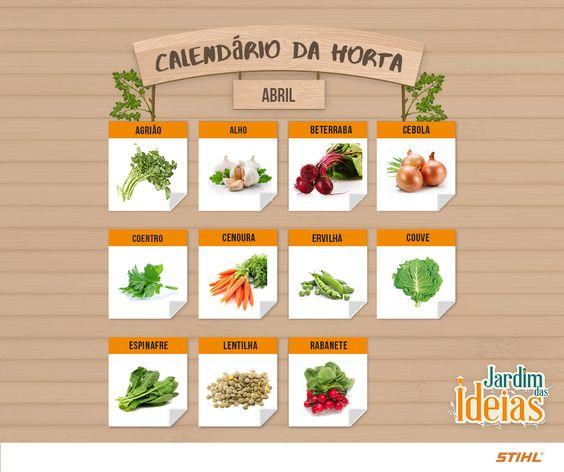 Calendário de Abril com dicas de cultivo de verduras, legumes e frutas.: