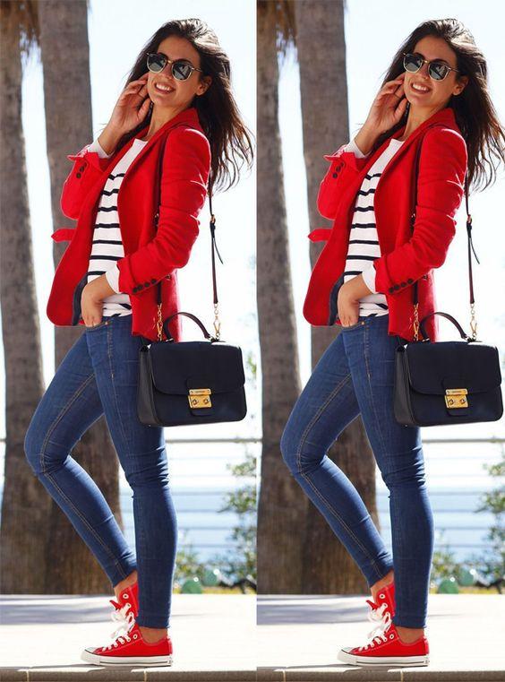 Jeans e all star vermelho