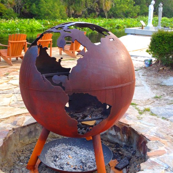 """Very cool new fire pit at Wekiva Island ... Our """"Third Rock"""""""