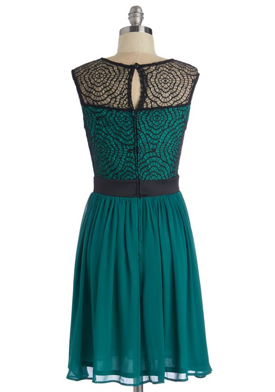 Starlet's Web Dress in Jade. After slipping into this black-and-jade dress, you feel like spinning with excitement over tonight's film premiere. #green #prom #wedding #bridesmaid #modcloth