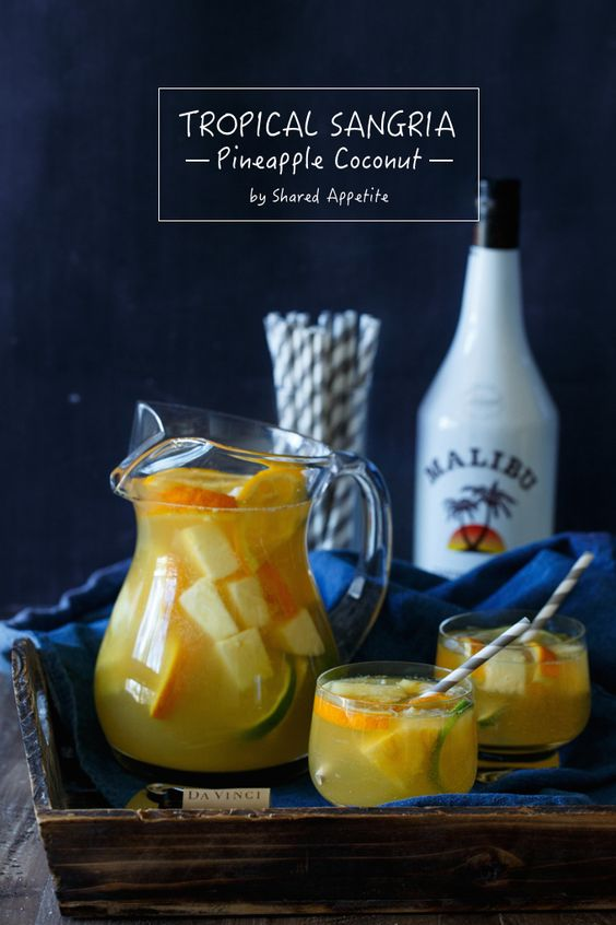 Tropical Pineapple Coconut Sangria a easy to make drink recipe that everyone will love.  | sharedappetite.com