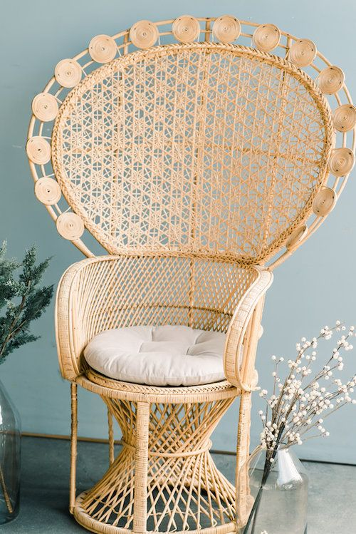 Provenance Rentals Monica Peacock Chair Ornate Rattan Wicker