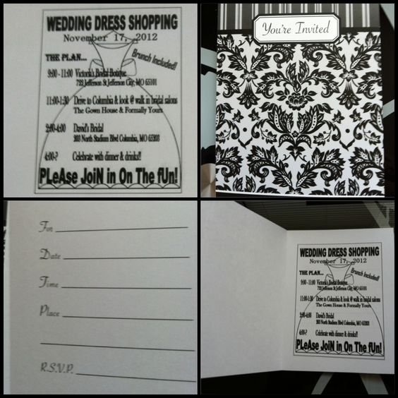 My Invites For Wedding Dress Shopping I Bought Invites From The Dollar Tree Amp Then Used