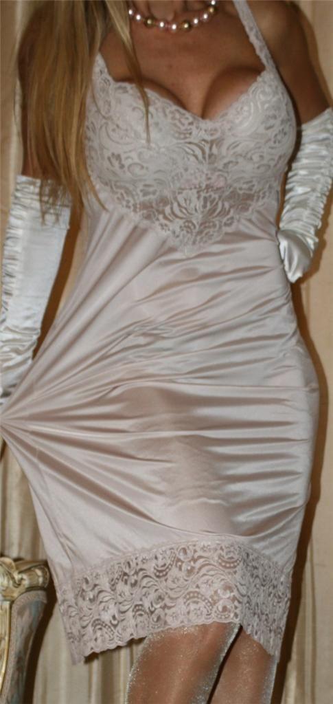 White full slip and white satin gloves pretty for White silk slip wedding dress