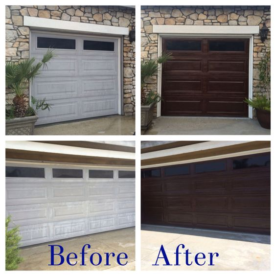 Diy garage door makeover using minwax gel stain in hickory for Stained garage doors