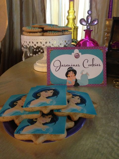 Lovely decorated cookies at a Princess Jasmine party! See more party ideas at CatchMyParty.com! #princess #partyideas: