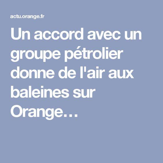 Un accord avec un groupe pétrolier donne de l'air aux baleines sur Orange…