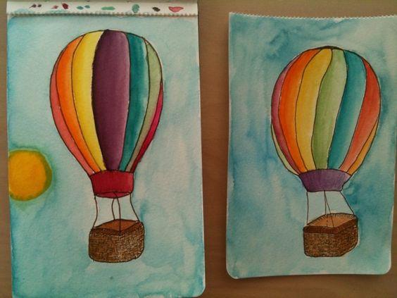 watercolor hot air balloons!