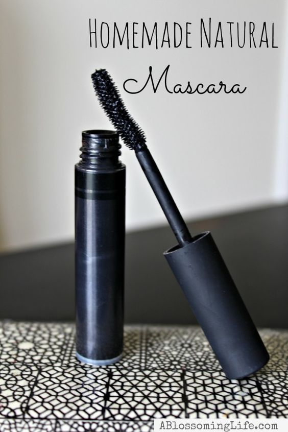homemade mascara - coconut oil, shea butter, activated charcoal, aloe vera gel and beeswax.