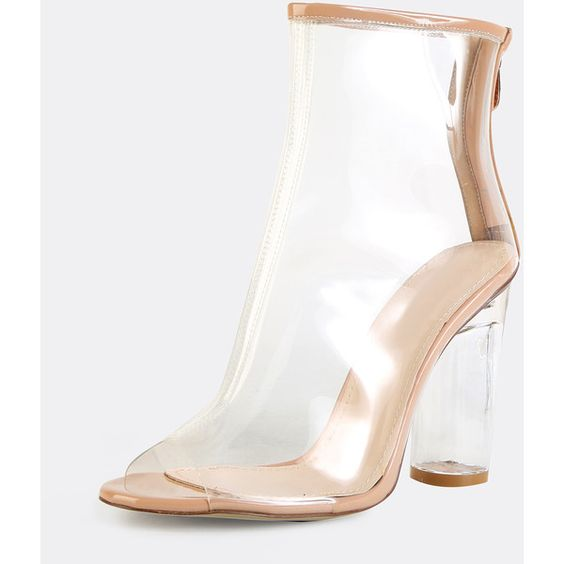 SheIn(sheinside) Peep Toe Crystal Heel Transparent Ankle Boots CLEAR ($82) ❤ liked on Polyvore featuring shoes, boots, ankle booties, peep-toe booties, bootie boots, mid heel booties, sexy boots and chunky-heel boots