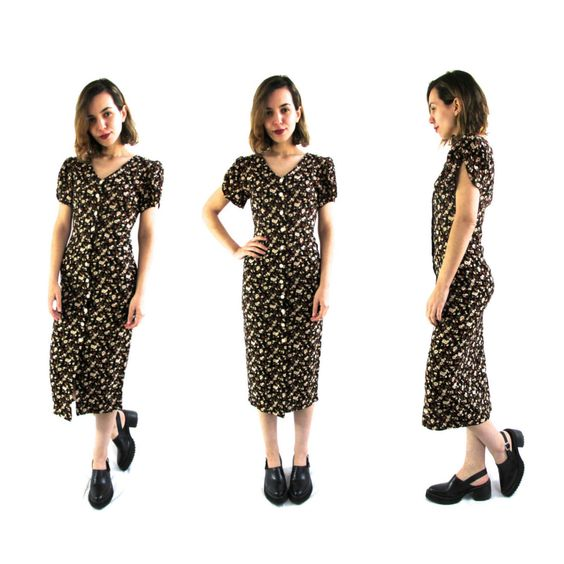 90s Grunge Floral Dress XS/Small - 90s Grunge Black Floral Long Dress XS - Black Floral Dress XS - Long Floral Dress by ColonyVtg on Etsy