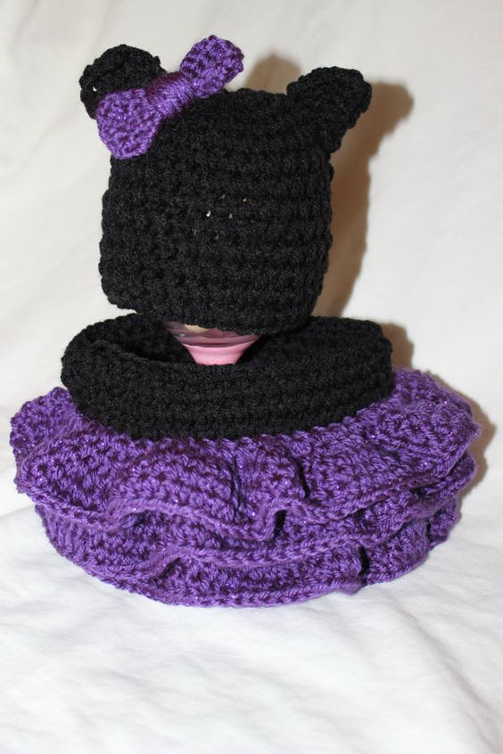 Crochet Cat Beanie with bow and matching shirt on Etsy, $30.00