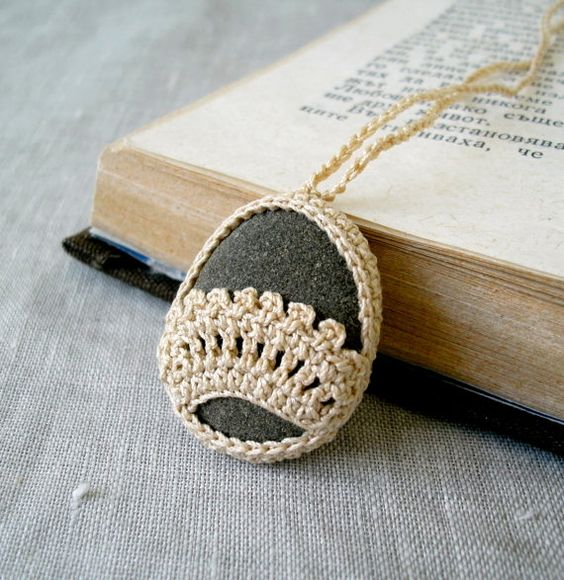 Crochet Stone Necklace - Crochet Jewelry - Lace Stone Necklace - Beach Stone Lacy Pendant - Beach Wedding Necklace. $20.00, via Etsy.