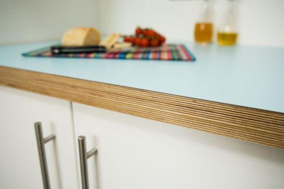 Aqua Formica and birchply kitchen worktop
