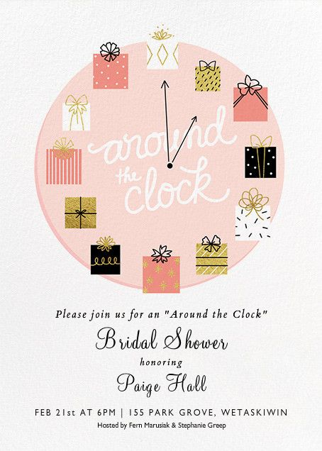 Paige 39 s bridal shower e vite by paperless post around for Around the clock bridal shower decoration ideas