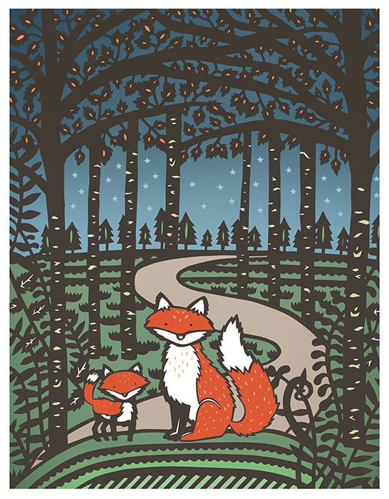 Night Foxes 8x10 Print of Original Papercut by SarahTrumbauer