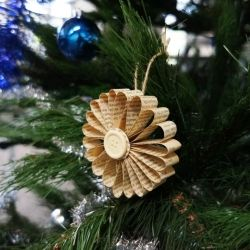Vintage Christmas decoration made using book page.
