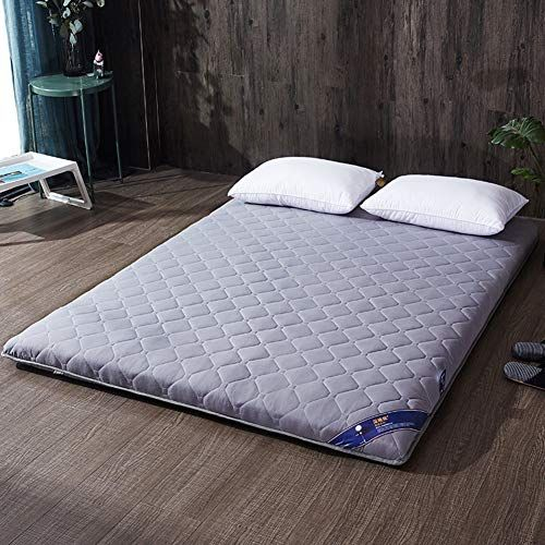 Msm Bedroom Quilted Mattress Thick Tatami Sleeping Floor Mat Solid Color Soft Comfort Folding Breathable Futon Bed Roll Gray Futon Bed Mattress Bedroom Quilts