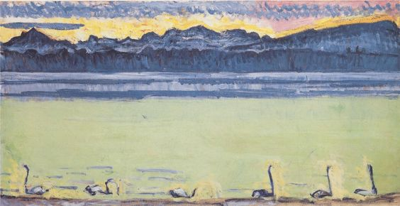 Lake Geneva with Mont Blanc and swans, Ferdinand Hodler