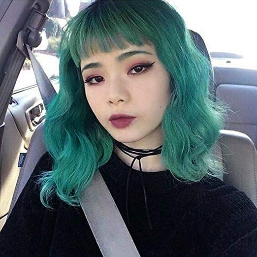 Aisi Hair Bob Wavy Short Hair Wig With Bangs For Women Synthetic Hair Wigs Green Curly Cosplay Wig Shoulder Length H Kpop Hair Color Girl Hair Colors Kpop Hair
