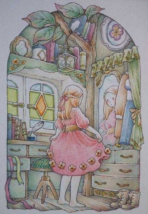 完成 色辞典色鉛筆で 鏡の前でおめかし中 ページが塗りあがりました 森の少女の物語より 色鉛筆 おめかし 塗り絵