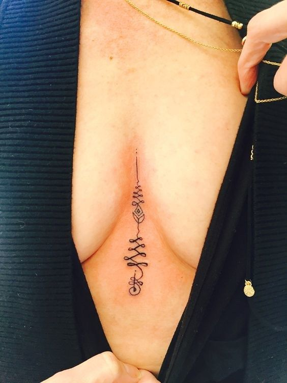 Unalome Tattoo Between Breasts Em 2020 Tatuagem Tatoo Instagram
