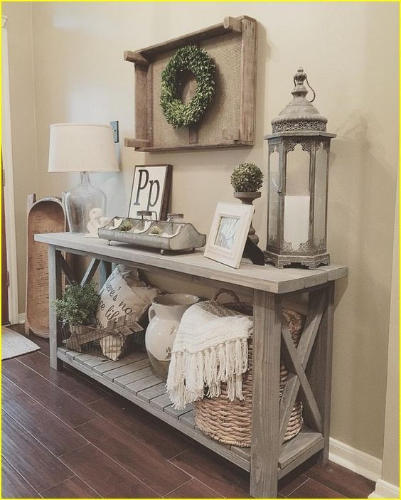 farmhouse table, lamp, pillow, storage, diy bench, front door, rug, mirror, flowers, entry way, rustic, modern, farmhouse, hardwood, white, shiplap, mirror, vase, wreath, storage, blankets, plants, lantern, basket vase, kitchen decor, home decor, diy decor, living room, dining room #afflink
