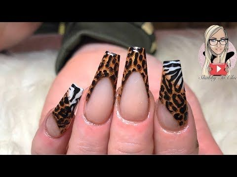 1868 Animal Print Acrylic Nails Zebra Print Leopard Print Coffin Nails Long Nails Youtube Zebra Print Nails Leopard Print Nails Long Nails