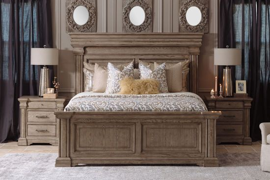 Traditional California King Panel Bed In Griege Traditional