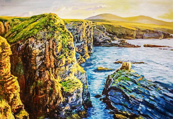 Ceide Cliffs, Co. Mayo Painting by Conor McGuire