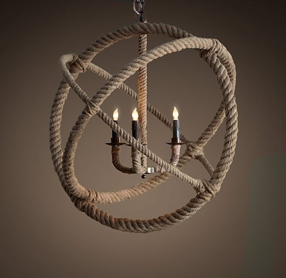 Rope Planetarium Chandelier Restoration Hardware Knock Off (made with hula hoops!):