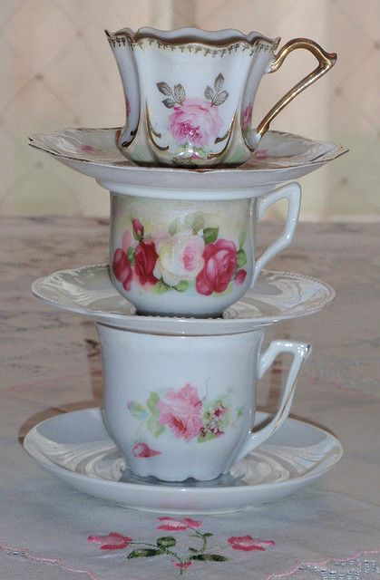 Vintage demitasse rose teacups By eg2006