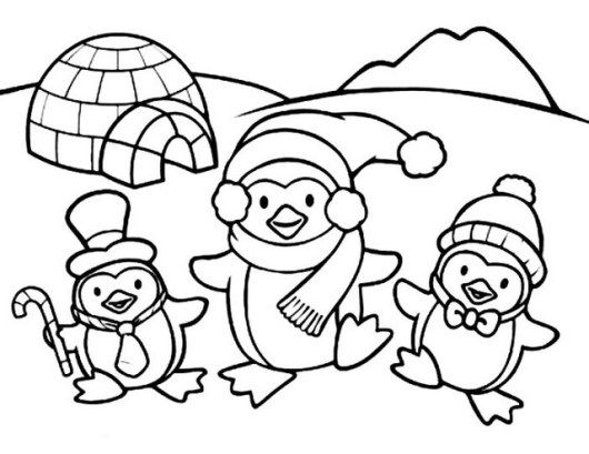 Cute Penguin In Front Of Igloo Coloring Sheets Penguin Coloring Pages Coloring Pages Winter Family Coloring Pages
