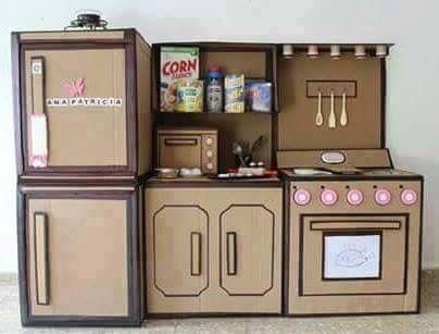 Una cocina de cart n para los peques diy pinterest for Cocina de carton