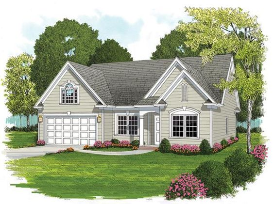 Plan #7066:   1748 SQ FT    4 bedroom, 3 bath house plan with 2-car garage. Small house plans, 1 story 46/55WTH/DTH   HousePlansPlus.com