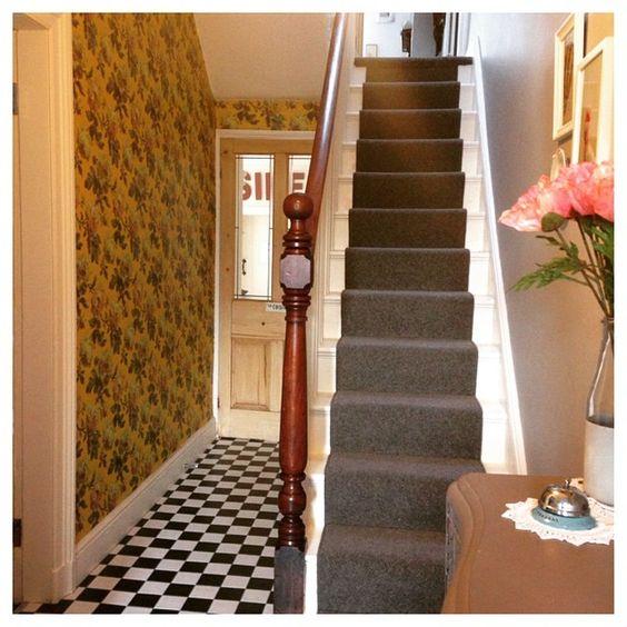 Trying to finish off the hall! #newhall #halldecor #hallway #tilledhallway #tilledfloor #houseofhackney #wallpaperlove