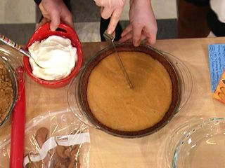 Gingersnap pumpkin pie ! Only crust is baked 7min. Rest of filling is done on stovetop ! Big sucess at last Thanksgiving !