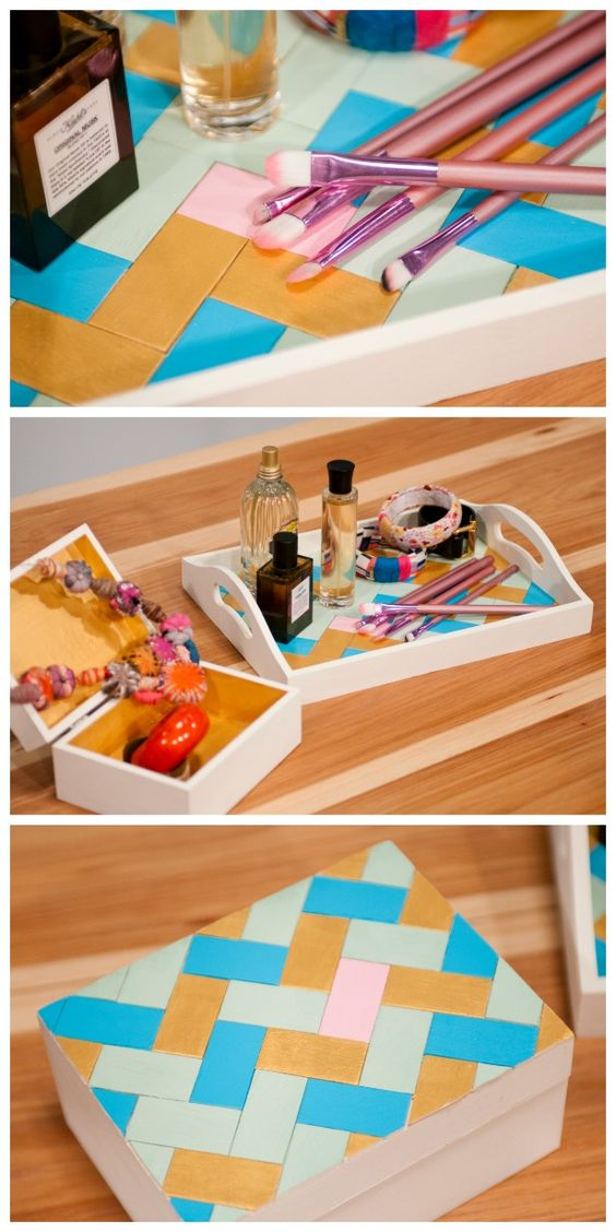 HGTV Crafternoon: DIY Herringbone Tray & Box (http://blog.hgtv.com/design/2014/03/18/diy-herringbone-tray-box/?soc=pinterest)