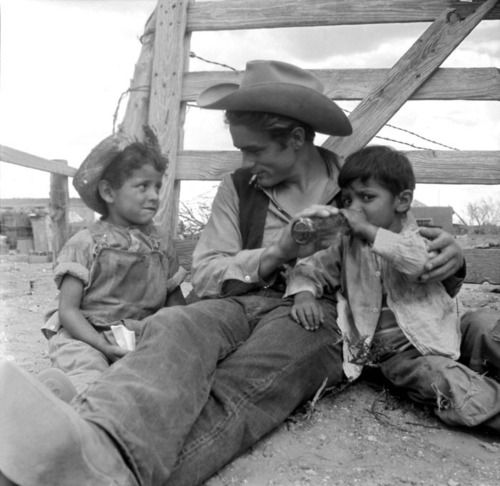 "James Dean on the set of "" The Giant"" (1956) in Marfa, Texas"