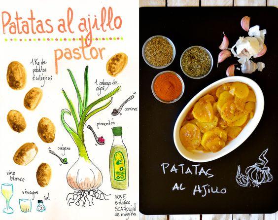 Patatas al Ajillo, recetas de patatas , recetas fáciles y baratas, Spanish food, Spanish recipes,recetas ilustradas,recetas tradicionales, guiso de patatas