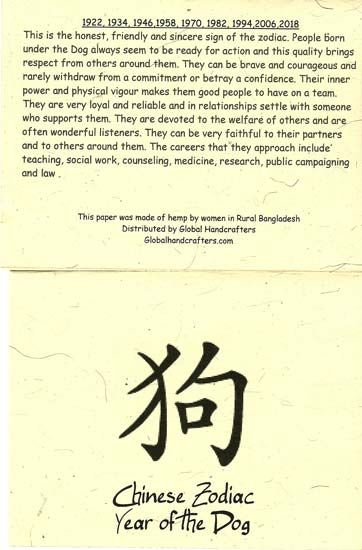 A paragraph on those born in the Chinese zodiac: Year of the Dog