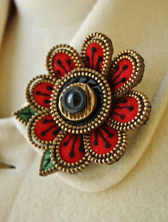 use of zipper - Love it!   Felt and zipper flower brooch by woollyfabulous on Etsy
