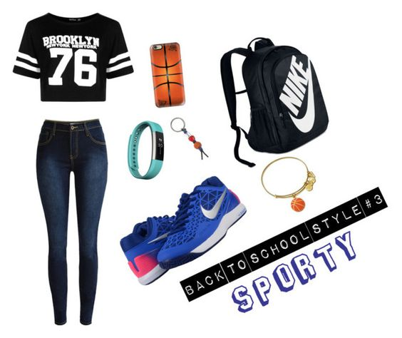 """Sporty"" by atweenschitterchatter on Polyvore featuring Boohoo, NIKE, Fitbit, Casetify and Alex and Ani:"
