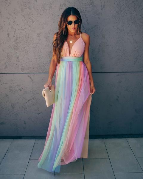 Rainbow Dreams Flared Maxi Dress