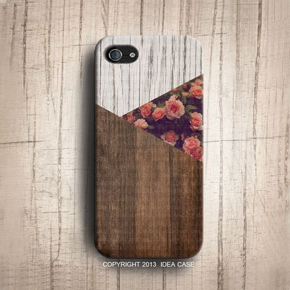 I like the coupling of wood-grain and rose print here.  iPhone 5S Case  Vintage Floral Geometric Triangle Wood by IdeaCase, $22.00